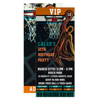 Basketball Birthday Party VIP Ball Game Ticket Invitation