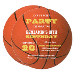 Basketball birthday cards greeting photo cards zazzle basketball birthday round invitation bookmarktalkfo Image collections