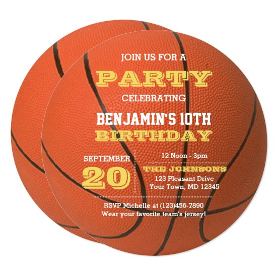 Basketball Birthday Round Invitation