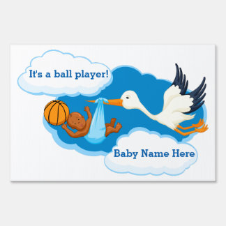 Basketball Black Baby Boy With Stork Sign