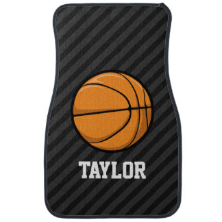 Basketball; Black & Dark Gray Stripes Car Floor Mat