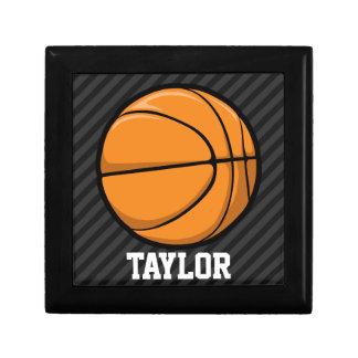 Basketball; Black & Dark Gray Stripes Keepsake Boxes
