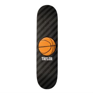 Basketball; Black & Dark Gray Stripes Skateboard Deck