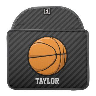 Basketball; Black & Dark Gray Stripes Sleeve For MacBooks