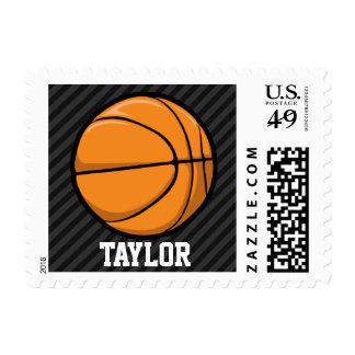 Basketball; Black & Dark Gray Stripes Stamp