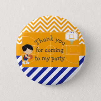 Basketball Black Hair 'Thank you for coming' Button
