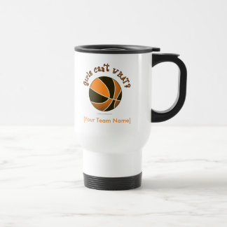 Basketball - Black/Orange 15 Oz Stainless Steel Travel Mug
