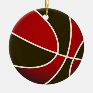 Basketball - Black/Red Double-Sided Ceramic Round Christmas Ornament
