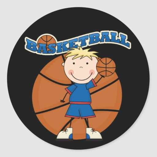 BASKETBALL Blond Boy T-shirts and Gifts Round Stickers