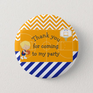Basketball Blonde Hair 'Thank you for coming' Button