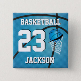 Basketball Blue and White | Personalize Button