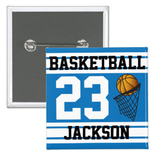 Basketball Blue & White Stripes | DIY Text 2 Inch Square Button