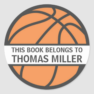 Basketball bookplate stickers for kids