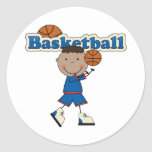 Basketball Boy,African American Classic Round Sticker