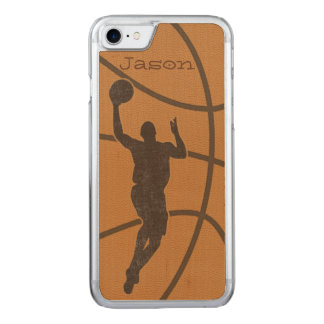 Basketball Boy Carved Wood Phone Bumper Carved iPhone 7 Case