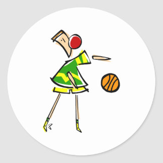 Basketball Boy Round Sticker