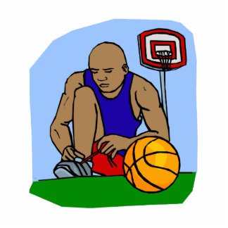 basketball boy tieing shoes photo cut out
