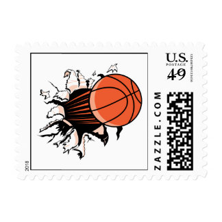 basketball breaking through powerful postage stamps