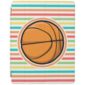 Basketball; Bright Rainbow Stripes iPad Cover