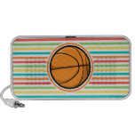 Basketball; Bright Rainbow Stripes Speakers