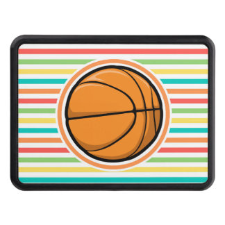 Basketball; Bright Rainbow Stripes Tow Hitch Cover