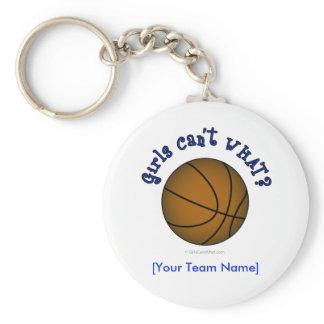Basketball - Brown/Blue Basic Round Button Keychain