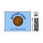 Basketball - Brown/Blue Postage Stamp
