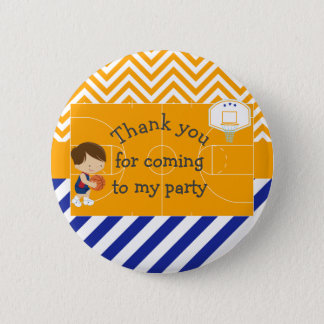 Basketball Brown Hair 'Thank you for coming' Pinback Button