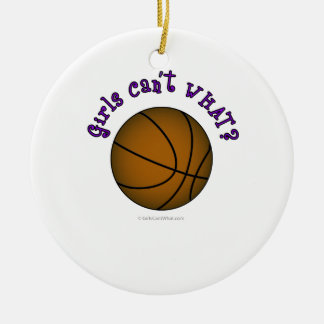 Basketball - Brown/Purple Double-Sided Ceramic Round Christmas Ornament