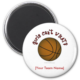 Basketball - Brown/Red 2 Inch Round Magnet