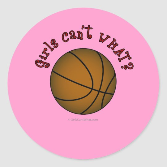 Basketball - Brown/Red Classic Round Sticker