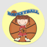 BASKETBALL Brunette Girl T-shirts and Gifts Round Stickers