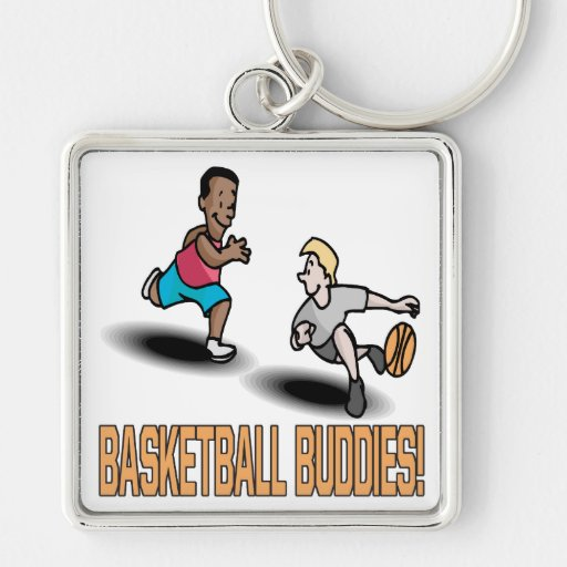 Basketball Buddies Silver-Colored Square Keychain