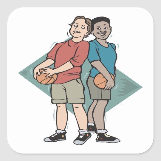 Basketball Buddies Square Sticker