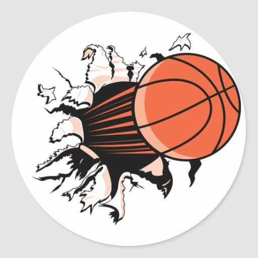 Basketball Burst Classic Round Sticker
