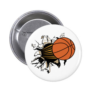 Basketball Burst Pinback Button