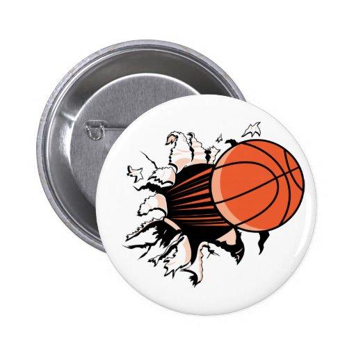 Basketball Burst Pinback Buttons