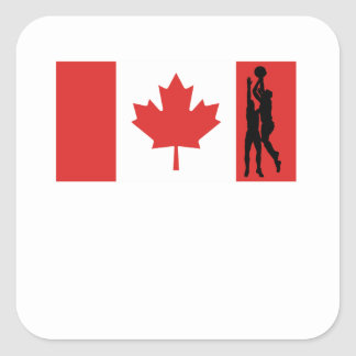 Basketball Canadian Flag Square Sticker