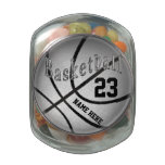 Basketball Candy Jar Personalized w/ Name & Number Glass Candy Jar