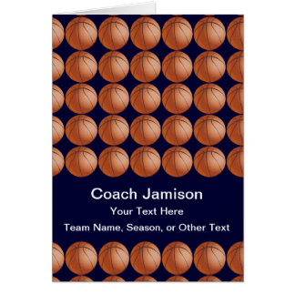 Basketball Card for Coach, Blue, Blank Inside