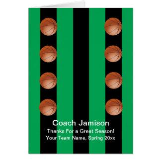 Basketball Card for Coach, Green, Blank Inside