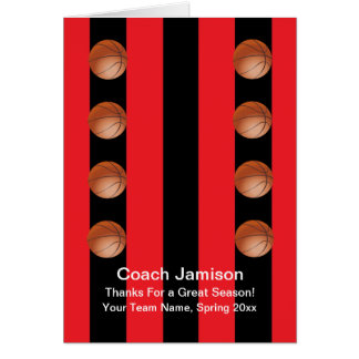 Basketball Card for Coach, Red/Black, Blank Inside