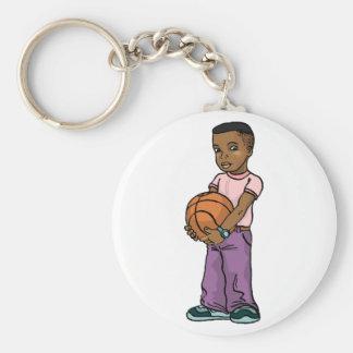 Basketball Catch Basic Round Button Keychain