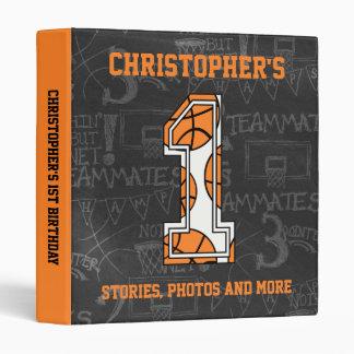 Basketball Chalkboard 1st Birthday Vinyl Binders