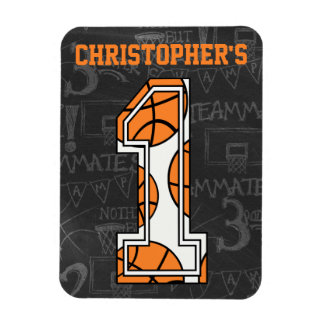 Basketball Chalkboard 1st Birthday Magnet