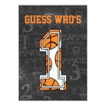 Basketball Chalkboard 1st Birthday Party 5x7 Paper Invitation Card