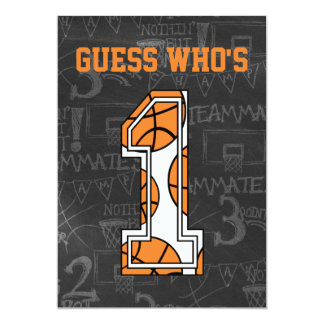 Basketball Chalkboard 1st Birthday Party Card