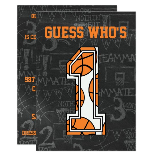 Basketball Chalkboard 1st Birthday Party Invitation