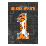Basketball Chalkboard 1st Birthday Party Personalized Invitations