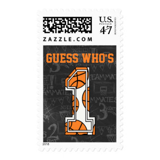 Basketball Chalkboard 1st Birthday Postage Stamp